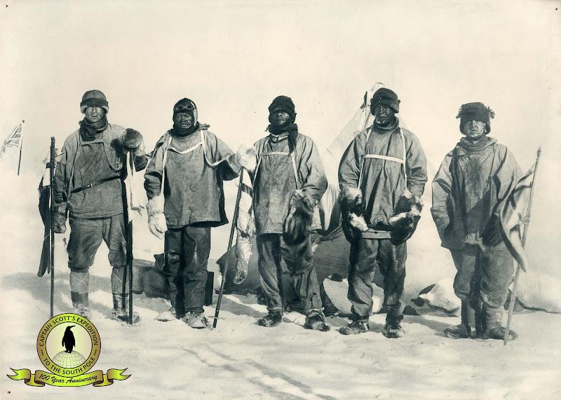 Photo: Polar Party at South Pole, 18 January 1912.