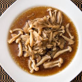 Oven-Steamed Mushrooms in Black Pepper Oyster Sauce.