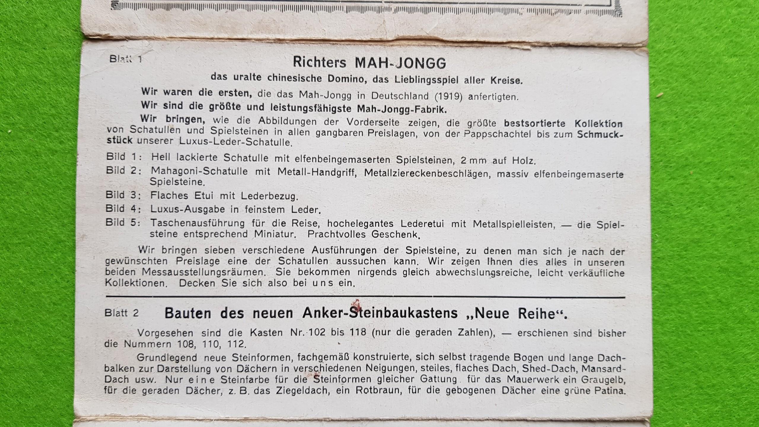 Leipziger Herbstmesse 1924 - EInladung zur Ausstellung der Anker-Bausteine