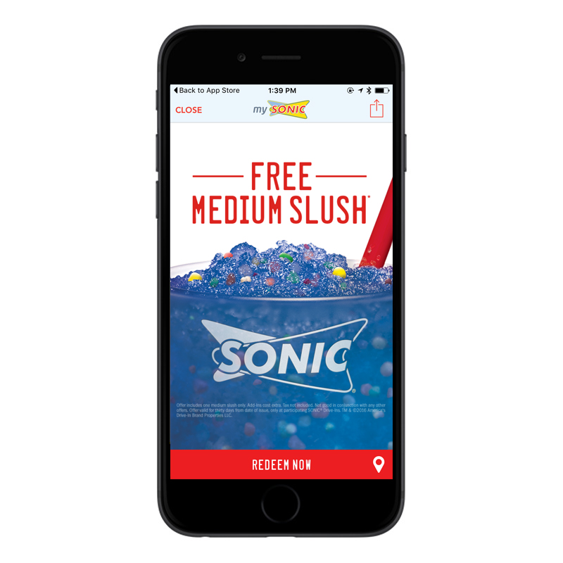 Get a free medium slush when you download the SONIC® App and create an account.