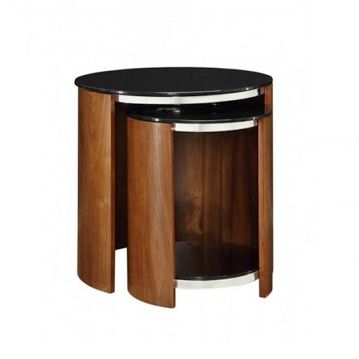 Jual Curve Walnut JF305 Glass Nest of Tables
