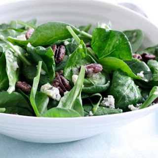 Spinach Salad with Sweet Roasted Pecans and Gorgonzola with Sherry Shallot Vinaigrette.