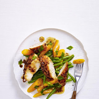 Spicy Chicken Fillet with Honey Beer Reduction and Vegetables.