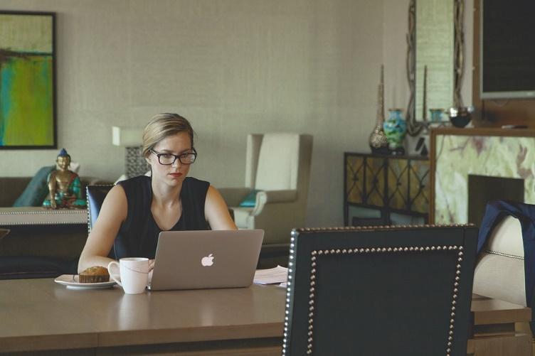 Laptop, Woman, Coffee, Breakfast, Working Woman, Desk