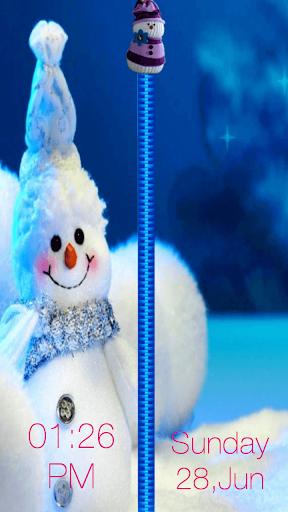 雪人拉链锁屏