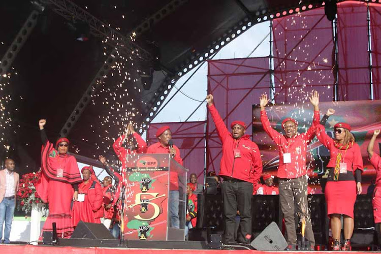 Julius Malema warns EFF members to contest robustly but within rules. The Economic Freedom Fighters leader was speaking at the party's fifth anniversary celebration at Sisa Dukashe Stadium in Mdantsane' East London on July 28, 2018.