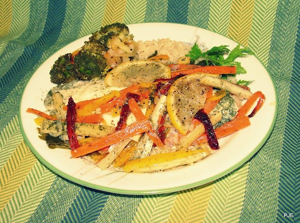 NOTE: For these packets I used frozen flounder fillets, parsley, Italian oil and vinegar...