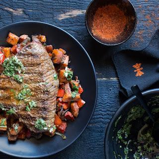 Steak With Sweet Potato Hash And Chimichurri.