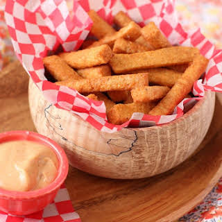 Lentil Fries with Currywurst Dipping Sauce.