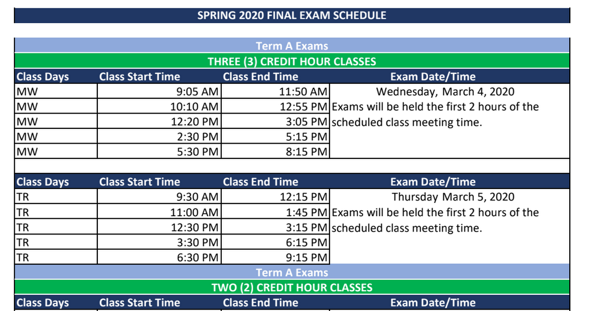 Exam Schedule Spring 2020 Spring 2020 Final Exam Schedule.pdf   Google Drive