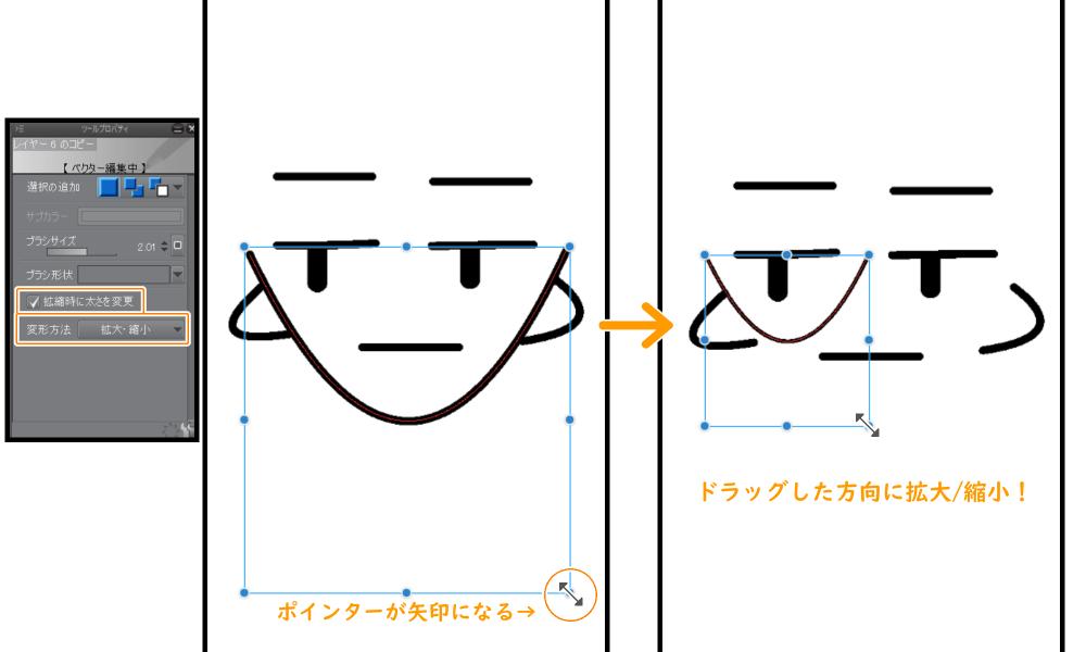 オブジェクトツール:拡大縮小
