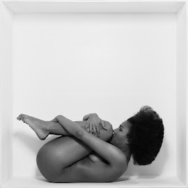 In the Box by Michael Strobl - Nudes & Boudoir Artistic Nude ( nude, black and white, fine art, black, curly hair )