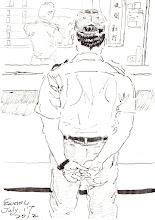 Photo: 下班點名2011.07.17鋼筆 經過了一天一夜辛勞,夜勤同仁好不容易可以拖著疲憊的身體下班回家,卻在管制口被欄了下來: 「不能走!典獄長今天退休要跟大家握手道別,現在集合點名!」 「跟他握手?我辦不到!」有些同仁想到這兩年不被專重就有氣,於是先走了。 隔天,新的規定下來了:「以後下班要集合點名,全員到齊了才能走。」 就為了一兩個人不配合,就修理全部的人,都退休走人了,還要幫他出氣?這讓我想起以前在泰源技訓所時,一個門衛同仁離座忘了關電扇被所長看到,第二天除了他被記過之外,所有的門衛的椅子都被收走,唉~監所這種惡劣的連坐處罰文化到何時才能停呢?