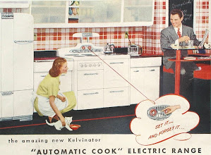 Photo: An ad for the Kelvinator electric range, 1947. Those sliding frosted glass or plastic  doors never seemed to have caught on in the USA.