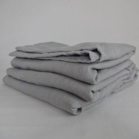 Ljusgrått påslakan i linne