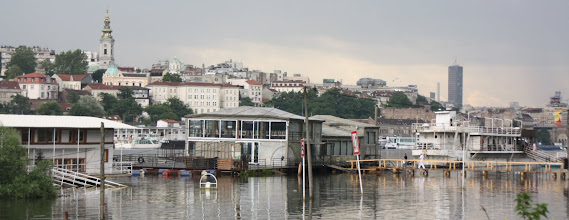 Photo: Day 80 - Floating Bars & Clubs, with their Walkways under Water because of the Danube Flooding