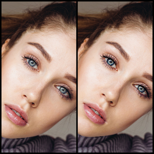 Montagem de uma mulher branca mostrando o antes e depois da edição do AirBrush