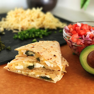 Quesadilla with Roasted Poblanos, Feta, Corn, and Pico De Gallo Recipe