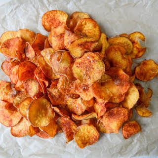Homemade BBQ Sweet Potato Chips.
