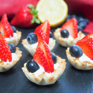 Berry Phyllo Cups With Lemon Cheesecake Cream.