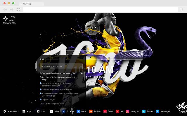 Kobe Bryant Popular NBA HD New Tabs Theme