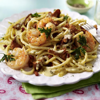 Shrimp and Chanterelle Carbonara.