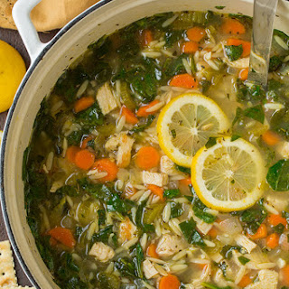 Lemon Chicken and Spinach Orzo Soup.