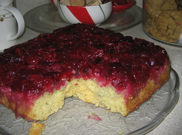 Drop batter evenly over cranberries in prepared dish;spread to cover evenly.Bake at 350^ for...