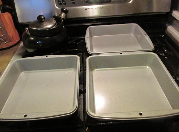 These are the 3 9X9 inch pans that I used to make the over the top Italian Cream cake.
