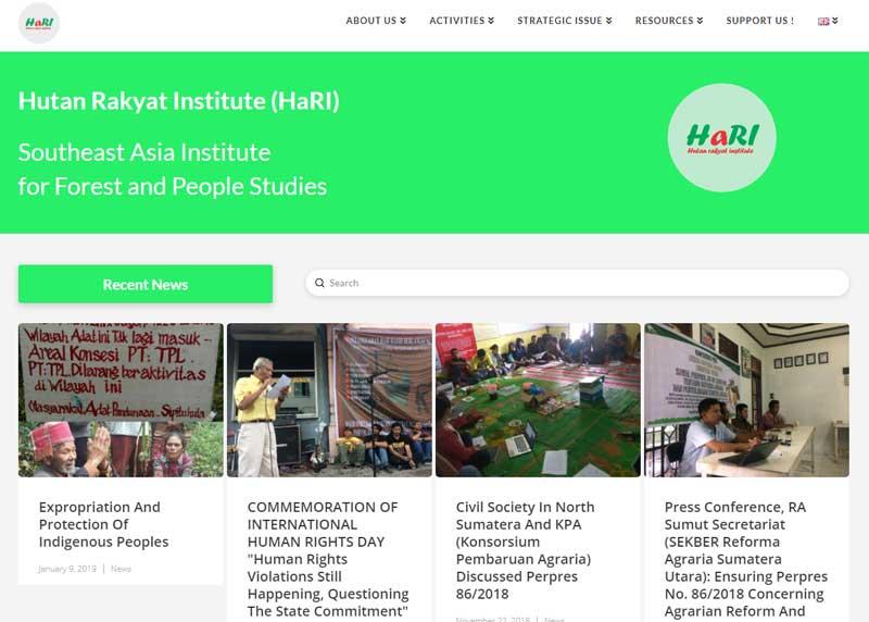 Tampilan Situs Hutan Rakyat Insitute (HaRI)