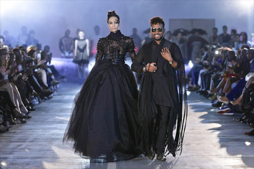 David Tlale presents a collection at Mercedes-Benz Fashion Week in Joburg in 2016.