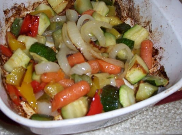 Roast for 30 minutes, stirring occasionally until the vegetables are lightly browned and tender.