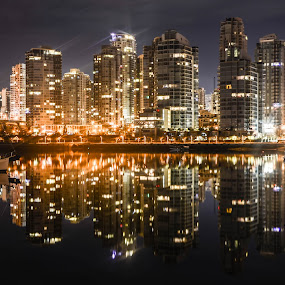 Night of the living mirror by Cory Bohnenkamp - City,  Street & Park  Night ( water, mirror, reflection, buildings, reflections, night, vancouver )