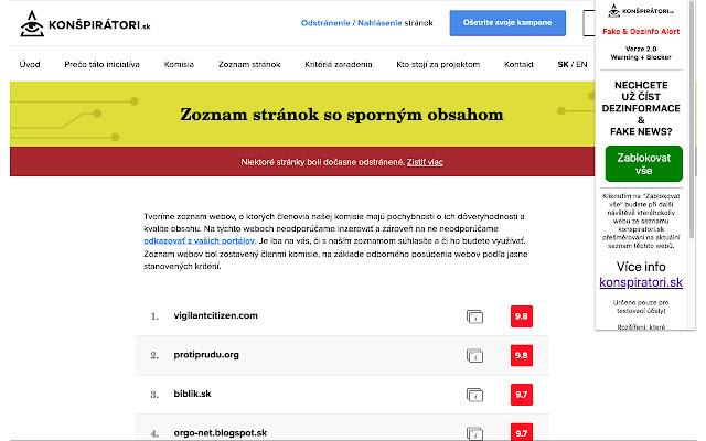 Fake News, Hoax & Dezinfo Alert+Blocker CZ/SK