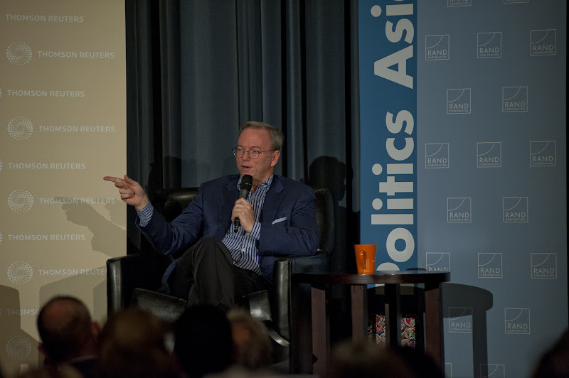 """Photo: Eric Schmidt responds to a question while discussing """"The New Digital Age"""" Thursday, Nov. 15, 2012 at the RAND Politics Aside event in Culver City."""