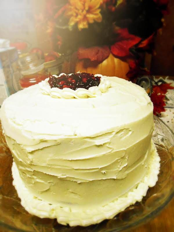 Cranberry Eggnog Cake With Butter Cream Frosting, Whole Cake