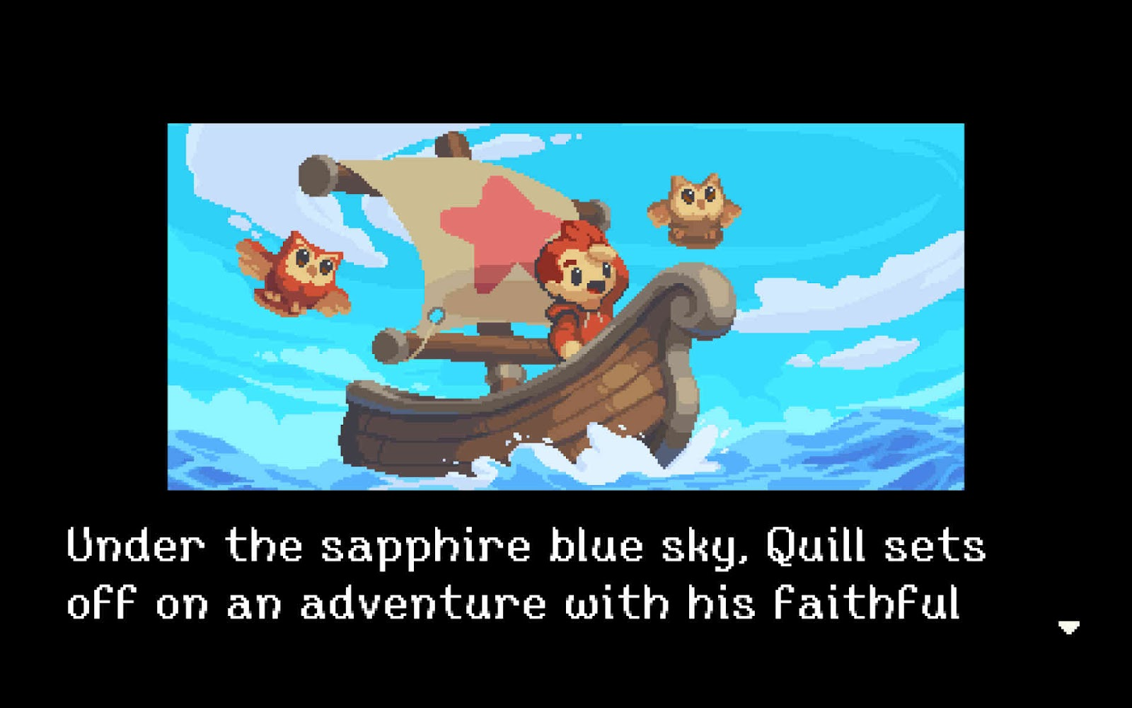 Quill, the main character sailing in a boat accompanied by his faithful owls.