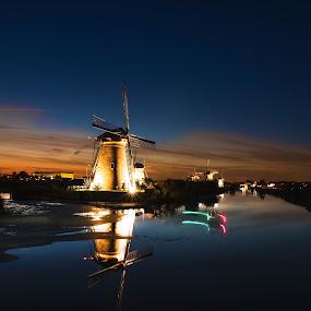 by Twan Konings - Landscapes Sunsets & Sunrises ( sunset, kinderdijk, night, windmills, netherlands )