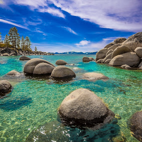 Sand Harbor by Becca McKinnon - Landscapes Waterscapes ( clouds, water, mountains, clear water, nevada, tahoe, lake, rocks, sand harbor, lake tahoe )