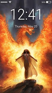 Flaming Girl Lock Screen - náhled