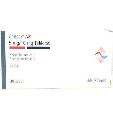 Bisoproplol + Amlodipino  CONCOR AM 5/10MG TAB. CAJA X30TAB. MERCK