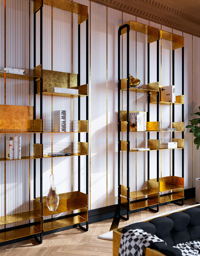 Kệ sách gắn tường thanh mảnh nhưng đầy sang trọng với thiết kế hoàn toàn từ vàng.