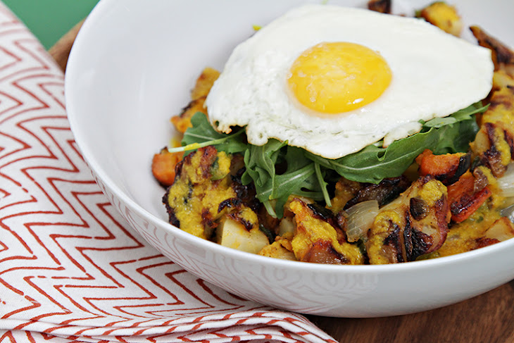 Root Vegetable Hash Browns With Fresh Turmeric Sauce And Fried Eggs