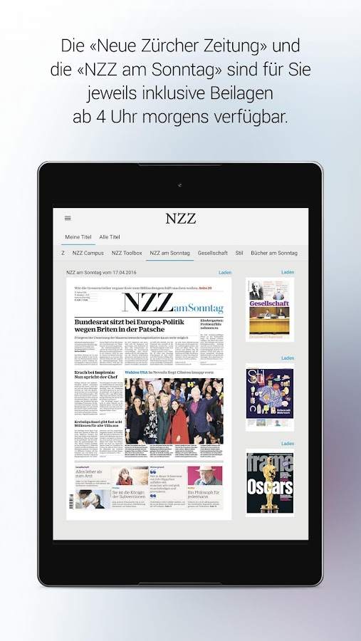 NZZ E-Paper – Screenshot