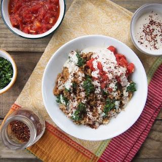 Mujadara with Harissa Tomato Sauce, Garlicky Herbs & Tahini Sauce.