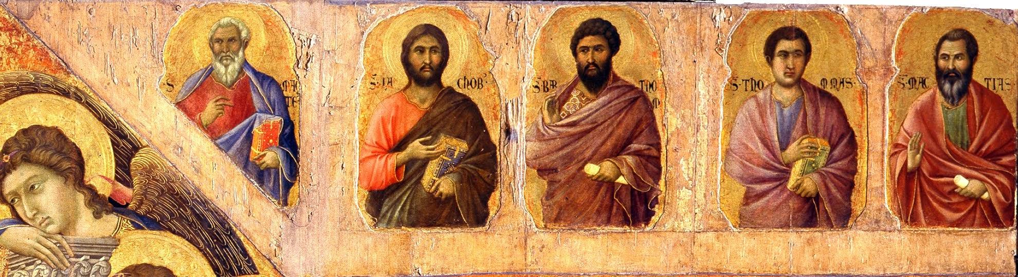 Duccio di Boninsegna, Maestà del Duomo di Siena (1308-1311), particolare della tavola principale - da sinistra: Matteo, Giacomo minore, Bartolomeo, Tommaso, Mattia