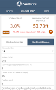 Southwire voltage drop apps on google play screenshot image greentooth