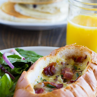 Baked Egg, Bacon and Cheese Boats
