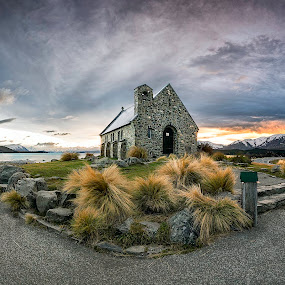 Heaven and the hell by Gary Kuen - Landscapes Travel ( calm, burning clouds, church of the good shepherd, blending, sunrise, panorama, new zealand, luminosity mask, formation )