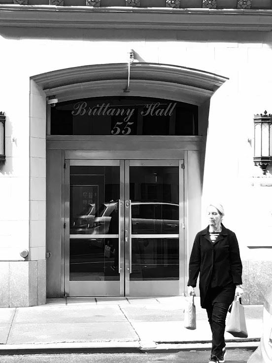 The entrance to NYU dormitory, Brittany Hall